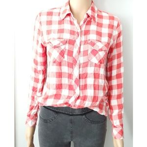 Maison Jules Plaid Ling Sleeves Shirt Size Small